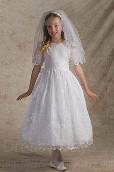 Irish First Communion Dress - Bridal Satin