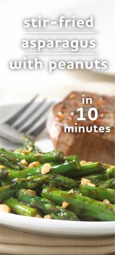 An easy stir-fried asparagus recipe tossed with soy sauce and sprinkled with peanuts Veggie Side Dishes, Vegetable Sides, Side Dishes Easy, Vegetable Recipes, Quick Asparagus Recipe, How To Cook Asparagus, Healthy Snacks, Healthy Eating, Healthy Recipes