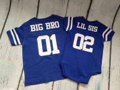 Big Bro Lil Sis Shirt - Big Sis Shirt in Hot Pink, Grey, Navy, Red, Royal, or Smoke Football Jersey , Lil Sister, Lil Sis, Big Brother by PaisleySweetBoutique on Etsy https://www.etsy.com/listing/243159694/big-bro-lil-sis-shirt-big-sis-shirt-in