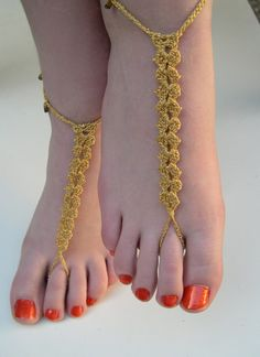 Golden Barefoot Sandals barefoot sandles Sexy by MaryKCreation
