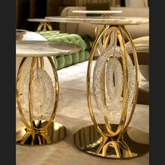 Exclusive sculptural Murano glass side tables pictured with marble top and gold detailing. Living Room Decor Furniture, Gold Furniture, Fine Furniture, Table Furniture, Luxury Furniture, Interior Design Living Room, Living Room Designs, Antique Furniture, Furniture Ideas