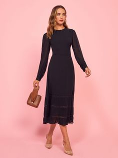 Reformation For The Real Life Dresses Of Your Dreams! - We Select Dresses Black Long Sleeve Dress, High Neck Dress, Modest Dresses, Dresses For Work, Meeting Outfit, Velvet Midi Dress, Georgette Fabric, Designer Evening Dresses, Fitted Skirt