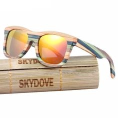 24034db64db  skateboarding Wooden  sunglasses for  mens Mirror Goggle Square Bamboo  vintage  Wooden Sunglasses