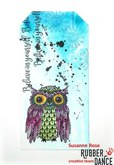 Susanne Rose Designs: Mixed Media Tag with Rubber Dance stamps