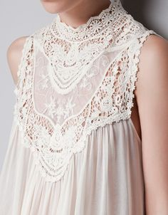 TOP WITH EMBROIDERED BIB FRONT - Shirts - TRF - ZARA