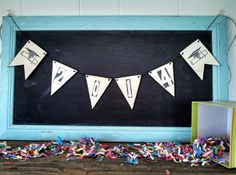 2014 Graduation Banner Wood Triangle Flag Pennant Cap and Gown Bunting Graduation Party Sign on Etsy, $22.00