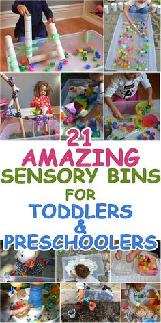 21 Amazing Sensory Bins for Toddlers & Preschoolers – HAPPY TODDLER PLAYTIME Here are 21 fun and amazing SENSORY BINS for toddlers and preschoolers. Learn and play with all these sensory bin ideas from rice to pom poms to caps and more! Sensory Activities Toddlers, Infant Activities, Toddler Sensory Bins, 2 Year Old Activities, Learning Activities For Toddlers, Nursery Activities, Indoor Activities For Toddlers, Fun Activities For Toddlers, Alphabet Activities