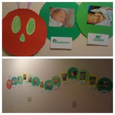 Very Hungry Caterpillar photo banner for 1st birthday- newborn - 12 months, each month photo in a circle. #Caterpillar