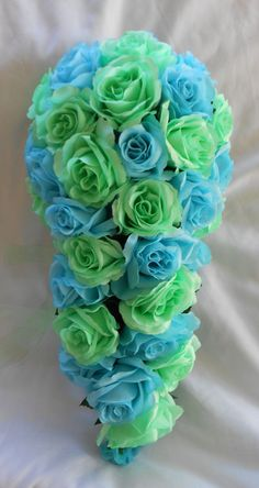 Bridal cascade bouquet mint green and malibu blue 2 pc Cascading Bridal Bouquets, Rose Wedding Bouquet, Cascade Bouquet, Pink Bouquet, Aqua Wedding, Blue Bridal, Dream Wedding, Lime Green Weddings, Malibu Blue