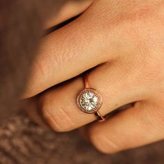 Moissanite Engagement Ring Rose Gold Halo Ring by onegarnetgirl