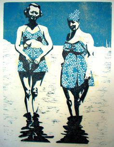 "Lesson idea: Block printing/watercolor...""Reinterpret a Memory"" Bathing Suit Ladies Wood Block Print"