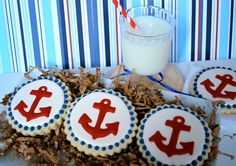 Red Anchor Decorated Sugar Cookies 12 by sweetgoosiegirl on Etsy, $33.00