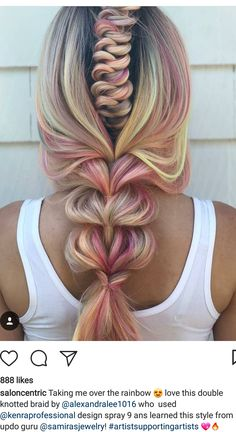 intricate braid within a braid with rainbow colored highlights