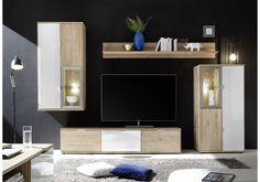 Edle Und Moderne Wohnwand Mit Wohlfühlcharakter. In Einem Spannenden  Materialmix Von Massiver Wildeiche Bianco Und