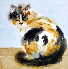 Sale 10  Cat Fine Art Watercolor Print Valentine Calico by LaBerge, $20.00