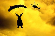 """The Extreme Easter Air Drop"" -- apparently, helicopter Easter egg drops are all the rage and this is a post advertising one of them."