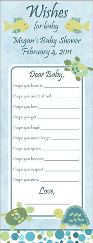 Baby Shower WISH Game Cards...this is a cute idea.  You could pin these to the welcome home sign (previously pinned).  It could then go in scrapbook.