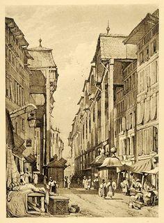 1915 Print Samuel Prout Art Geneva Switzerland Streetscape Cultural XDA6