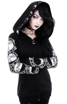 7bbdcae8fdb Moon Magick Oversized Hood Moon Phase Gothic Black Hoodie - back in stock  all sizes (