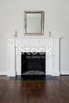 Fireplace In Living Room Lizenzfreies Foto
