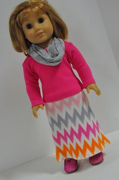 American Girl Doll Clothes Chevron Maxi Skirt by CircleCSewing