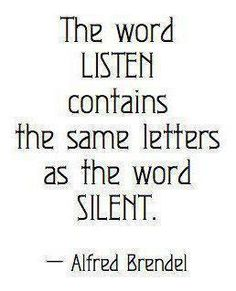 The word Listen contains the same letters as the word Silent ...