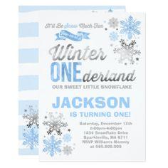 Winter ONEderland Birthday Invitation Blue Silver - invitations custom unique diy personalize occasions