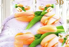 Kvalitné posteľné obliečky bielej farby s oranžovými tulipánmi