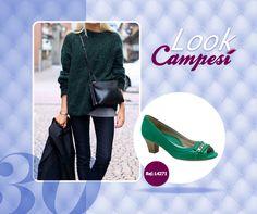 Já notou como um look básico e mais apagado pode ficar lindo combinando com um sapato colorido? A #Campesí tem uma variedade de cores que permite que você monte essas combinações. #lookCampesí #moda #sapato