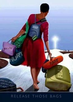 It's So hard to NOT become a bag lady but remember all those bags are holding you back miss lady… release them and you shall be free Black Love Art, Black Girl Art, My Black Is Beautiful, Black Girl Magic, Art Girl, Black Style, Beautiful Artwork, Caricatures, Black Artwork