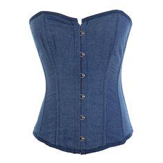 Amazon.com: BINCHENG Womens Denim Jean Lace up Overbust Corset TOP: Clothing