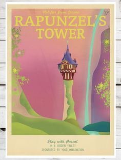 Retro Travel Poster Disney Rapunzel's Tower by TeacupPiranha