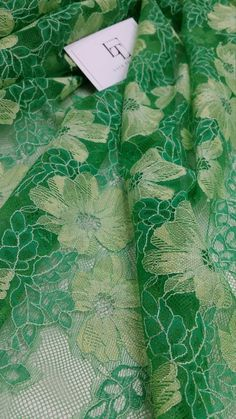 Green lace fabric by the yard France Lace Embroidery by LaceToLove