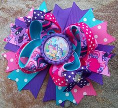 My Little Pony Inspired 5 Inch Stacked Bow