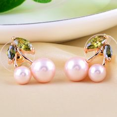 Glass #Pearl Stud #Earring, with CZ, more colors for choice.