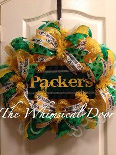 Green Bay Packers Decomesh Green Yellow Wreath Lambeau Field  on Etsy, $55.00
