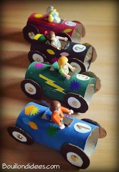 Recycle rolls of toilet paper into smaller cars More . Projects For Kids, Diy For Kids, Crafts For Kids, Toilet Paper Roll Crafts, Paper Crafts, Fun Crafts, Diy And Crafts, Toddler Activities, Kids And Parenting