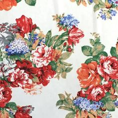 """Fabric Boutique - 774 N Pacific Hwy, Woodburn, Oregon - White with red roses, <p>60"""" wide chiffon</p>"""