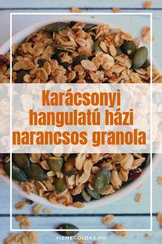 Egészséges karácsony - Karácsonyi hangulatú házi narancsos granola Granola, Superfood, Smoothies, Food And Drink, Breakfast, Smoothie, Morning Coffee, Granola Cereal, Muesli