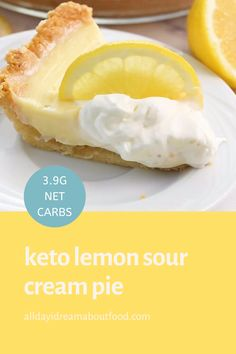 this keto lemon pie will have your tastebuds singing with a simple low carb press in pie crust and a rich sour cream filling its sugar free pie happiness creamy meyer lemon pie Lemon Desserts, Lemon Recipes, Low Carb Desserts, Low Carb Recipes, Dessert Recipes, Sugar Free Lemon Pie Recipe, Pumpkin Jam, Lemon Cream Pies, Low Carb Keto