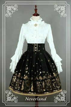 Neverland Lolita ~Golden Swan Lake~ Gold Stamping High Waist Lolita Skirt Black M + Match Headbow In Stock Old Fashion Dresses, Old Dresses, Pretty Dresses, Vintage Dresses, Fashion Outfits, Fashion Shirts, Dress Fashion, Fashion Boots, Kawaii Fashion