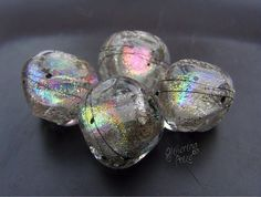 Lampwork Beads Silver Ice Rainbow Nuggets by GlitteringprizeGlass