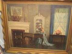 Awesome Large Vintage Framed with Glass Print Victorian Lady at Piano