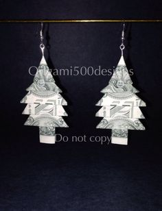 Money Origami Christmas Tree Earrings