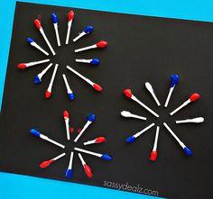 Q-Tip Fireworks Craft for Kids