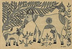 Holy Cow with Calf - Mithila painting.Sudha Kumar - Madhubani, Bihar, India Late 20th cent. Ink on paper