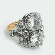 A diamond two-stone ring Edwardian