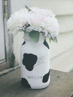 Cow Birthday Parties, Farm Birthday, 1st Birthday Girls, Cow Print Birthday, Birthday Ideas, Birthday Cake, Distressed Mason Jars, Painted Mason Jars, Mason Jar Diy