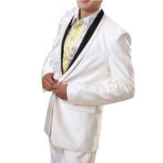 Fancy Men White Slim Fit Fashion Dress Suits Tuxedos for Wedding Prom SKU-123131