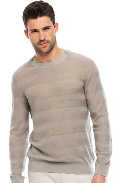 Sheer Waffle Rib Crew - Sweaters - Mens - Armani Exchange...wear with a pop of color underneath.